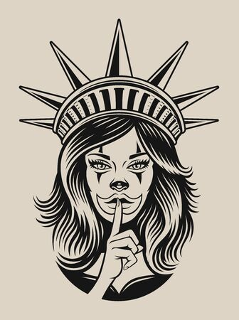 Vector illustration of a girl in chicano tattoo