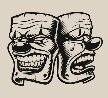 Vector illustration of masks in chicano tattoo style