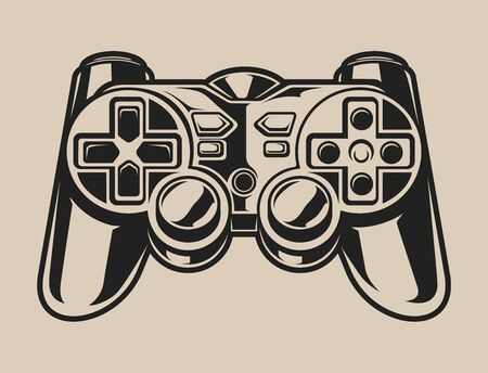 Black and white illustration of a gaming controller