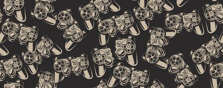 Black and white seamless pattern with a game joystick