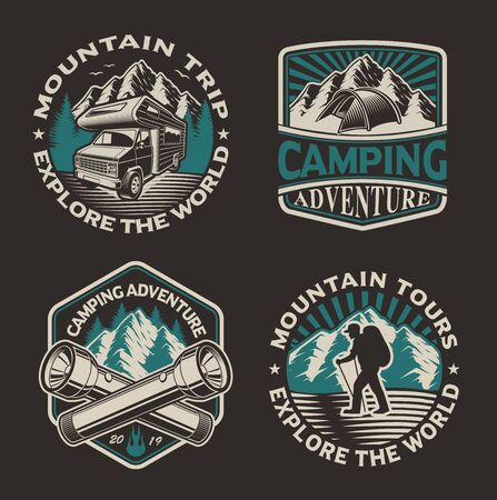 Set of vector logos for the camping theme