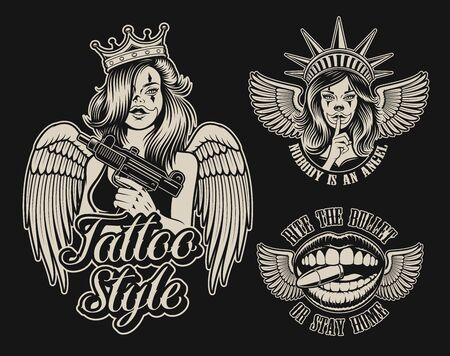 Set of vector illustrations in chicano tattoo style