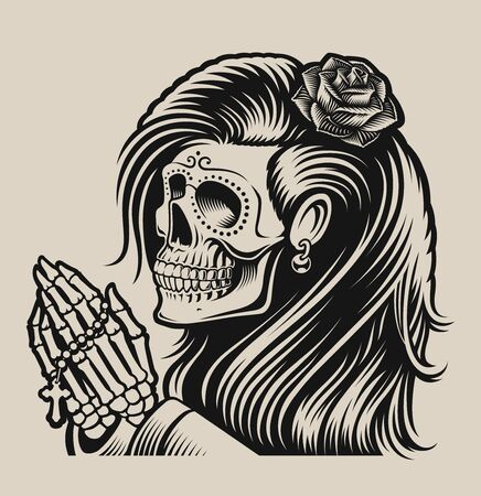 Vector illustration of a praying skeleton in chicano tattoo style on a white background