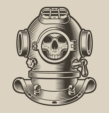 Black and white illustration of a diving helmet with a skull on a light background.