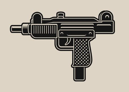 Vector illustration of a uzi gun on a white background