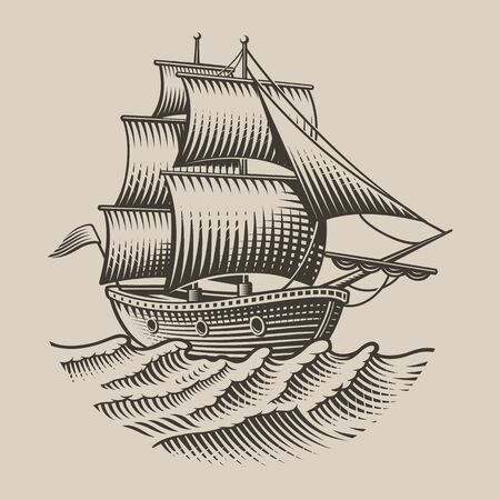 Vector illustration of a vintage ship in engraving style