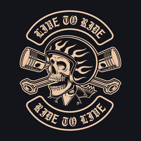 Black and white biker skull with crossed pistons