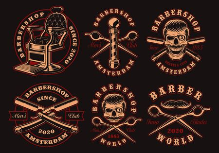 Set of black and white barber emblems on a dark background.