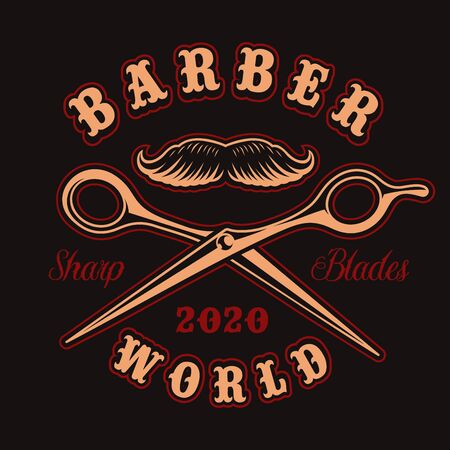 Vector badge for barber shop theme with scissors in vintage style.