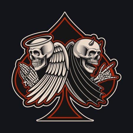Vector illustration with an angel and devil skeletons in tattoo style.