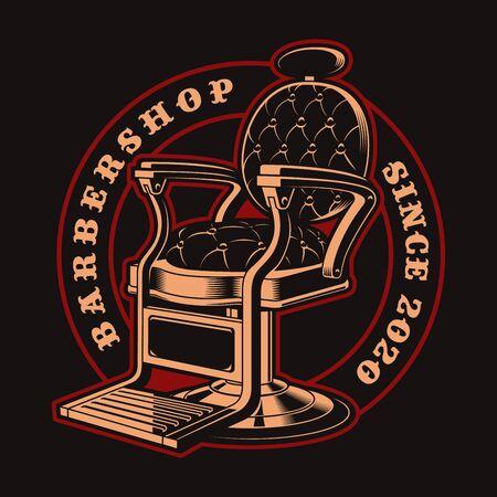 Vector badge for barber shop theme in vintage style Illusztráció