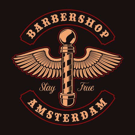 Vintage illustration of barber pole with wings on the dark background. Illusztráció