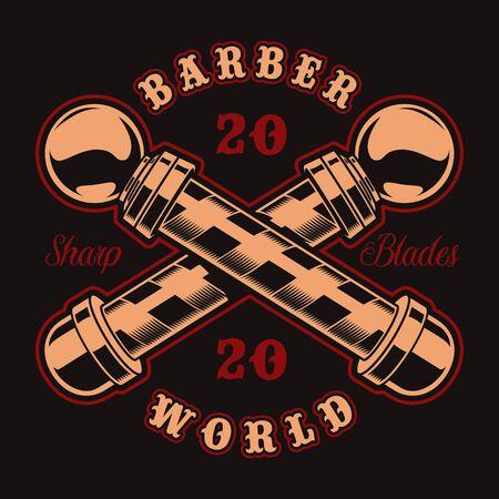 Vintage badge for barber shop theme on a dark background. Illusztráció