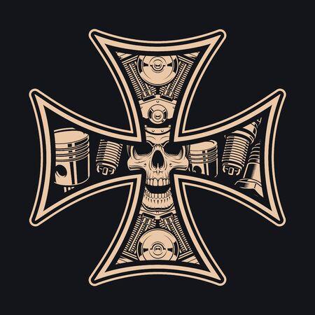 Black and white biker s cross, isolated on the dark background. Illustration