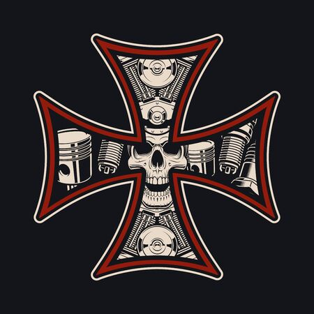Vector biker s cross, isolated on the dark background. Illusztráció