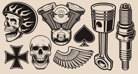 Set of vector illustrations for biker theme