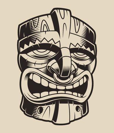 Vector illustration of polyanesian tiki mask. Element for design