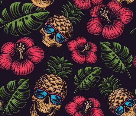 Seamless color pattern on the Hawaiian theme Illusztráció