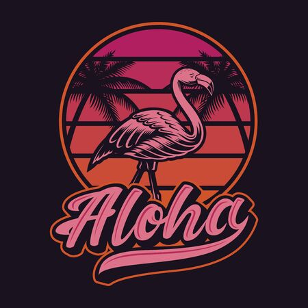 Vector illustration with flamingos in vintage style.