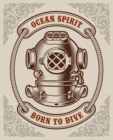 Colour vintage poster on the marine theme Illusztráció