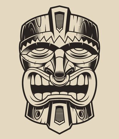 Vector illustration of a wooden tiki mask