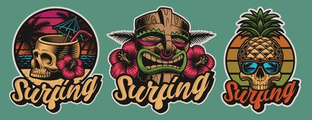 Set of colourful Hawaii surfing illustrations with skulls, tiki mask.