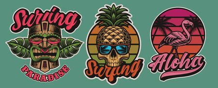 Set of colourful Hawaii surfing illustrations with tiki mask, skull, flamingo. Иллюстрация