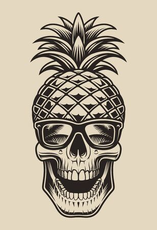 Vector illustration skull pineapple. Element for design