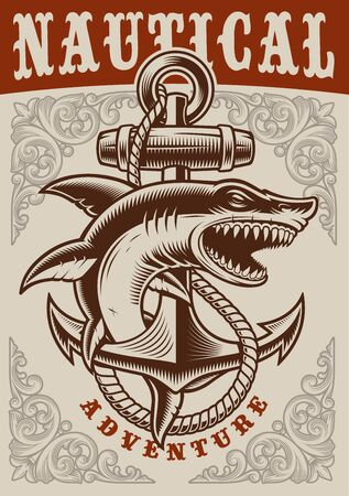 Nautical vintage poster with anchor and shark