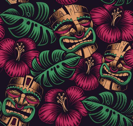Seamless color pattern with a tiki mask