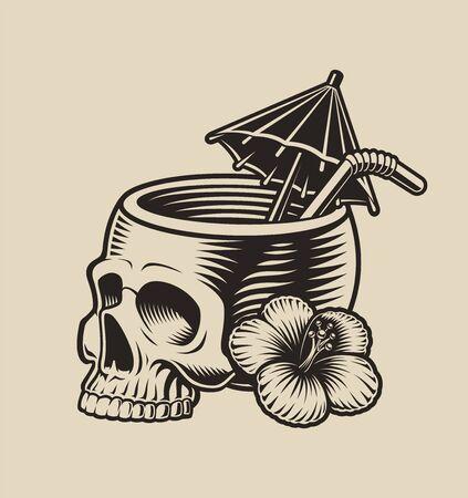 Vector illustration of a skull with a cocktail straw Illusztráció