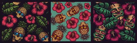 Set of seamless colored patterns in Hawaiian style with skull pineapple, tiki mask. Ilustração