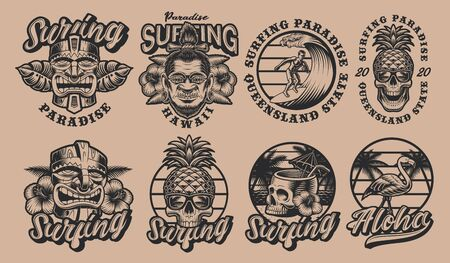 Black and white set Hawaii surfing illustrations on a light background. These vector are perfect for logos, shirt prints and many other uses as well.