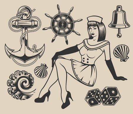 Set with pin-up girl and elements for design on the marine theme. Ilustração