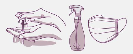 Set of vector illustrations for hygiene and infection prevention.Wash hand, disinfectant and medical mask