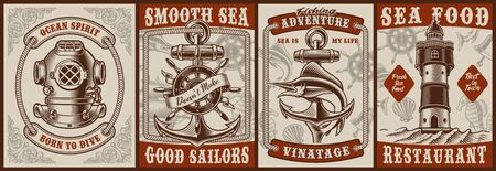 Set of vintage posters on the theme nautical with a diver helmet, anchor, marline, lighthouse.