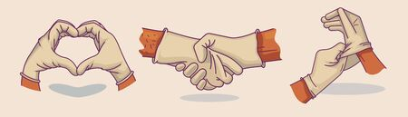 Set of vector illustrations hand in medical gloves. Heart from hands. Handshake. Icon, doodle illustration
