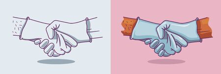 Vector illustration of a handshake in medical gloves. Illusztráció