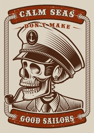 Colour vintage poster of the marine theme with skull capitane on white background