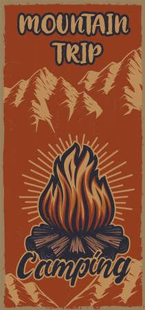 Colour vintage poster on the theme camping with bonfire. Vector