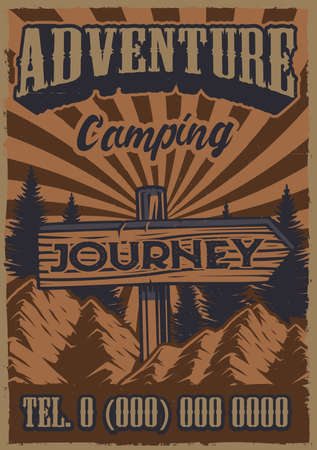 Color vintage poster on the theme camping with road sign with mountain background. Illusztráció