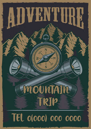Colour vintage poster on the theme camping with compass, flashlight. Vector