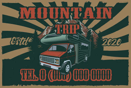 Colour vintage poster on the theme camping with VAN on grunge background