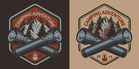 Vector badge with a mountain, flashlight in vintage style on the camping theme. Perfect for T-shirt design. Layered