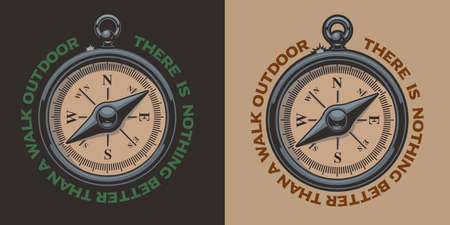 Color vintage vector illustration of a compass. Perfect for logos, shirt prints and many other Illusztráció