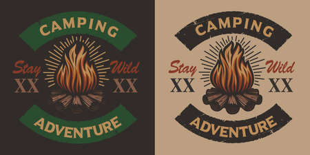 Colored vintage camping emblem with bonfire. Ideal for logos, shirt design, and many others uses