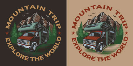 Coloured illustration with camping van on the theme of travel. Ideal for t-shirt design.
