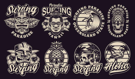 Big bundle of black and white Hawaii surfing illustrations. These vector are perfect for logos, shirt prints and many other uses as well. Illusztráció
