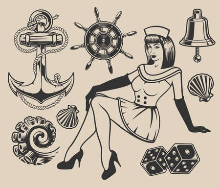 Set with pin-up girl and elements for design on the marine theme. Illusztráció