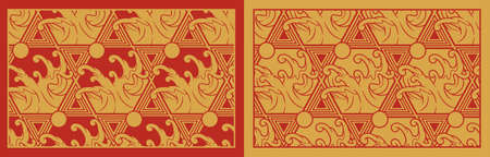 Gold seamless pattern with waves on Japan theme. Perfect for fabric print, decoration, poster, packaging, and many other uses. The frame around the pattern is in a separate group.Vector